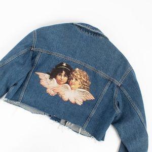 Fiorucci crop denim jacket with angels